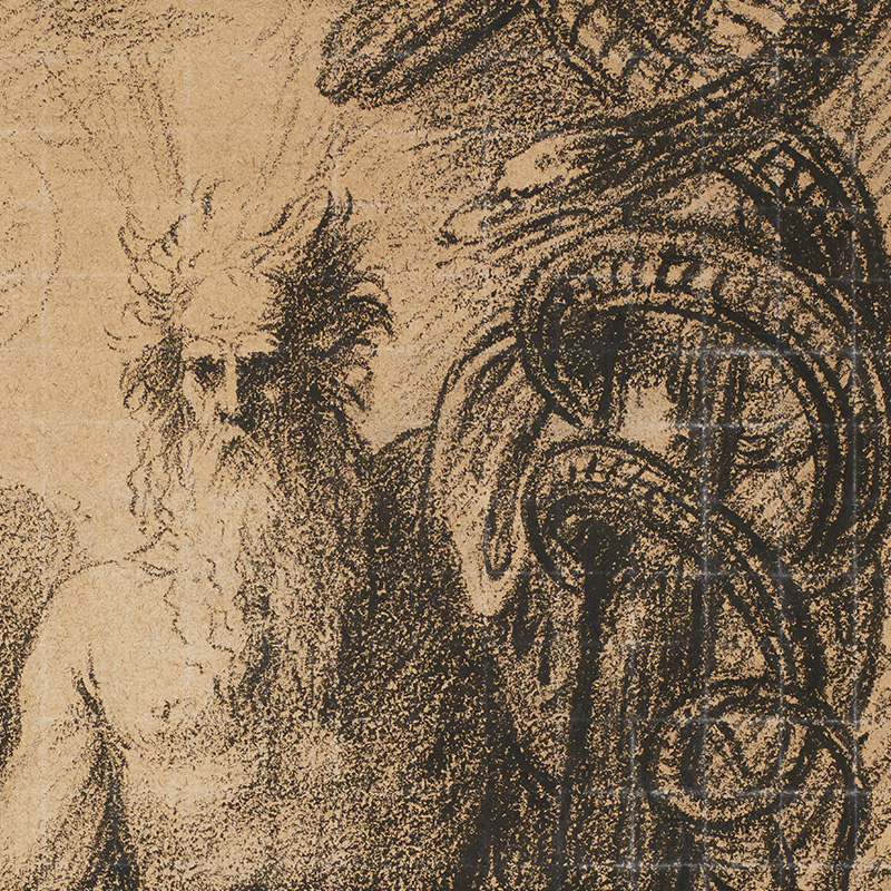 seated bare-chested man with a long white beard and wild hair, with a large drapery over his lap, holding a thick pole with his PL hand, with a snake twined around it, and a thin staff in his PR hand
