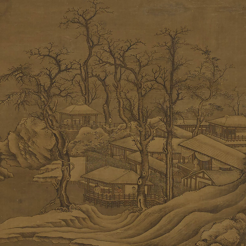 low rolling mountains at top; figures with boats and on peninsulas of land at center; buildings at bottom with figures on porches and in interiors; two men wearing furs on a boat at bottom center; muted colors; bare trees around buildings