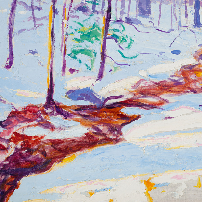Impressionistic landscape with snow and winding brownish-colored brook; small saplings with green leaves; purple mountain in distance; pink, yellow and orange foliage in middle ground