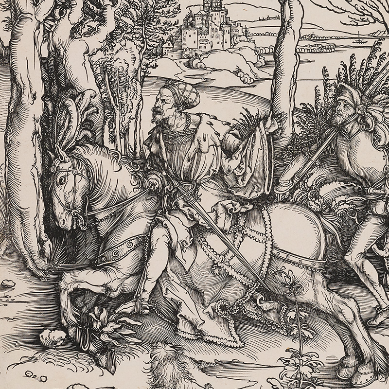 bearded man on horseback, with a long straight sword at his waist; horse wears bunch of feathers at the top of its harness between its ears; man carrying halberd running behind; running man has cluster of feathers on his headdress; trees in landscape with castle at center background; small dog in center foreground