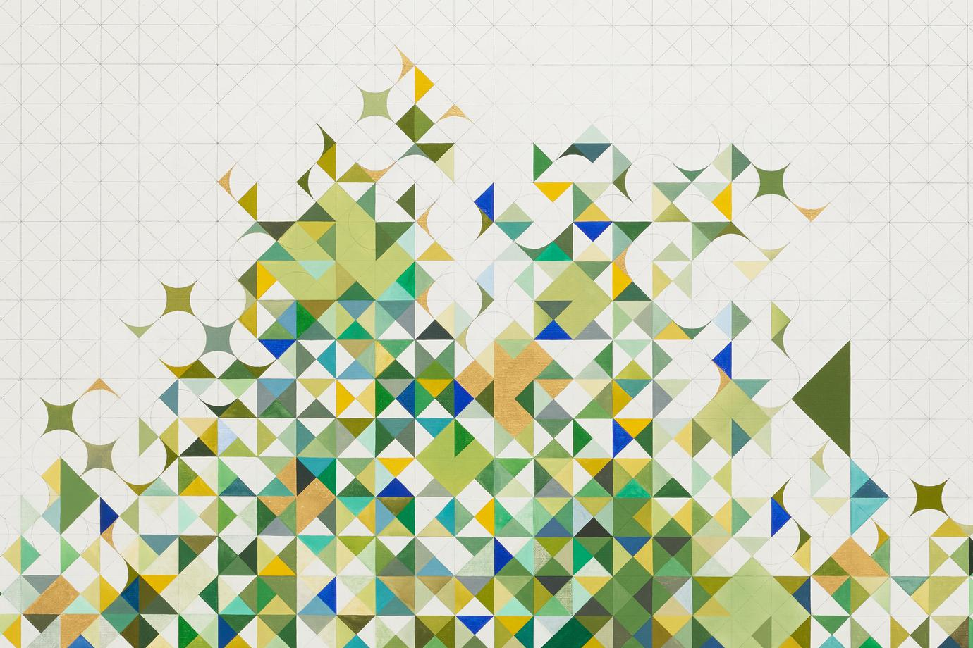 large, white canvas with crisscrossing pencil grid lines; abstract, quilt-like motif following gridlines at center of canvas, bursting into grid in greens, blue, yellow, and gold leaf